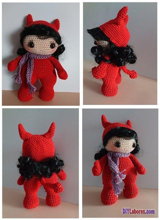 Muñeca diablesa en amigurumi con patrón | Patrones gratis ...