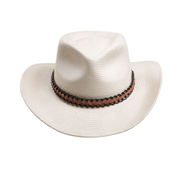 Japanese Paper Straw Unisex Wholesale Cowboy Hats With Metal