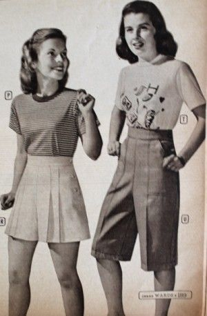 1940s Teenage Fashion Girls Fashion Teenage Girls Fashion Teenage Vintage High Waisted Shorts