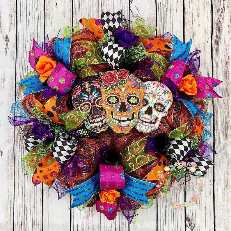 Image 0 Skull Wreath Sugar Skull Decorations Diy Sugar Skull Decor