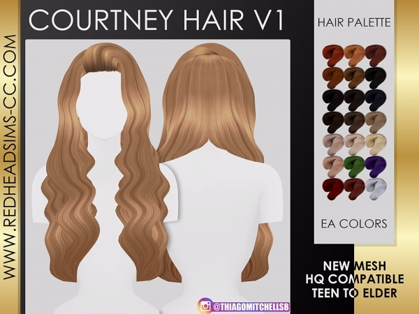 COURTNEY HAIR V1 - The Sims 4 Download - SimsDom RU
