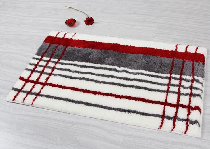 Elegant Gray Red Stripe Bathroom Rug Mostly The Site It Came