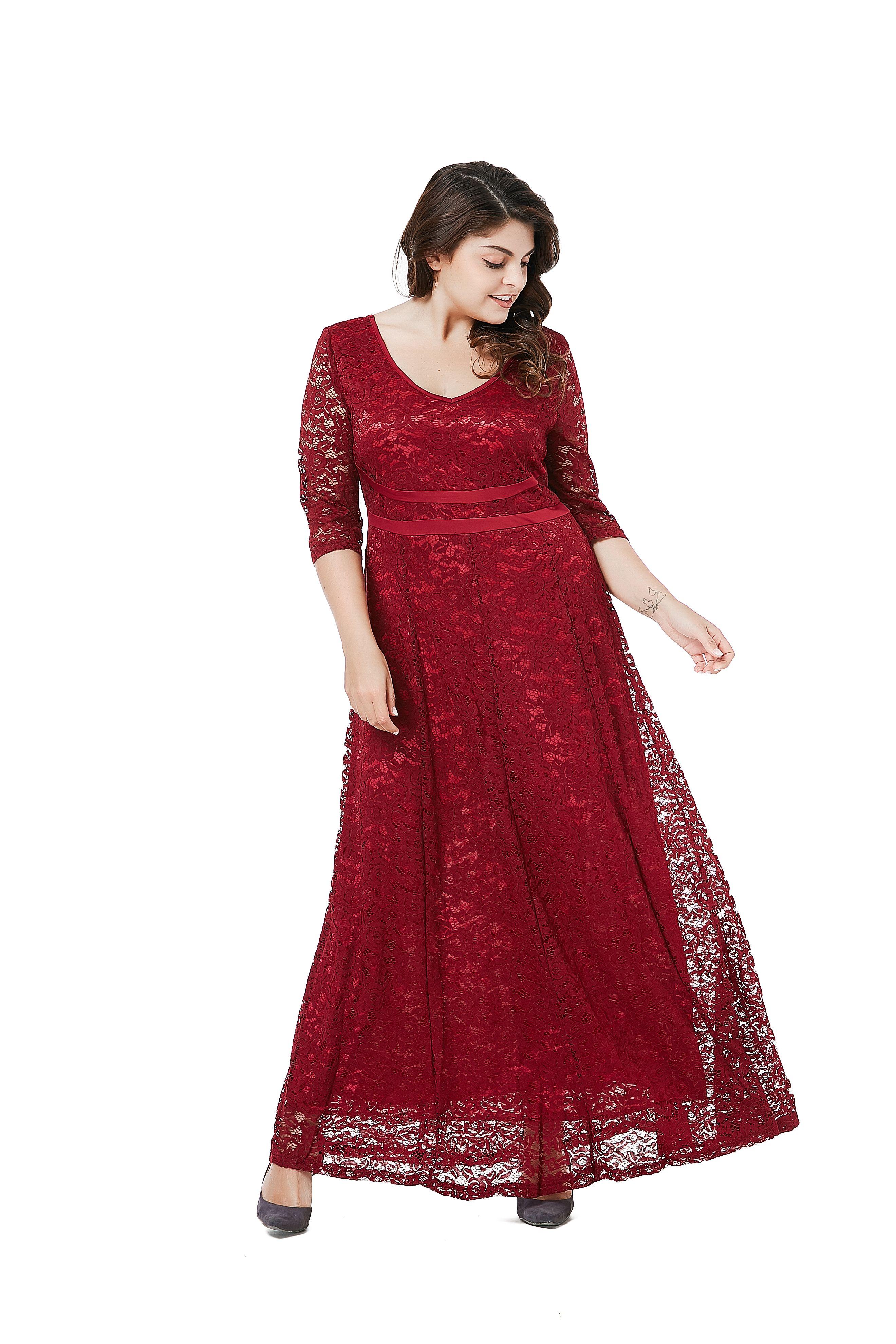 c8b8453bcdc ESPRLIA Women s Plus Size Double V Neck 3 4 Sleeve Dress High Waist Maxi  Wedding Dress