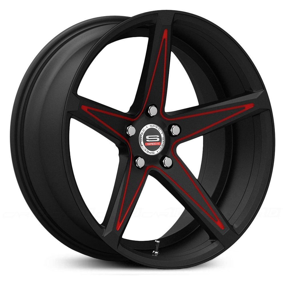 Spec 1 monotec spm 78 custom wheels gloss black with red accent rims