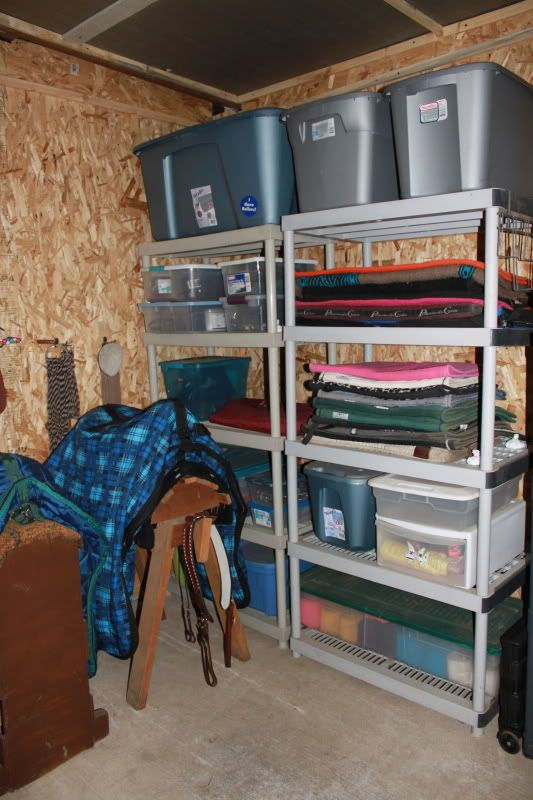 Tack Room Organization · Shelf Idea: For Extra Storage In Barn Such As  Winter Blankets, Spare Saddle Pads