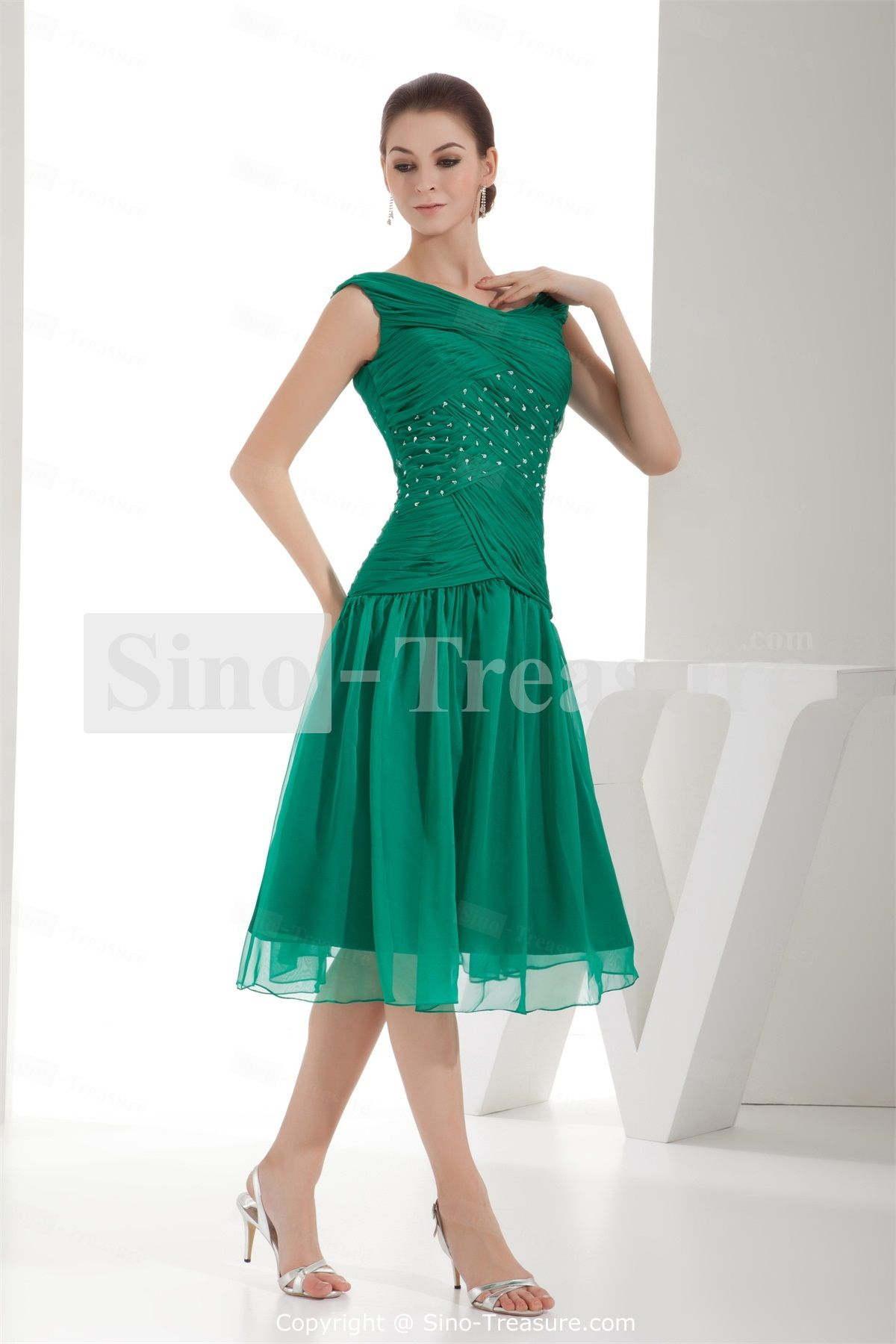 Grass Green V-neck A-line Capped Sleeves Tea-Length Chiffon Mother ...