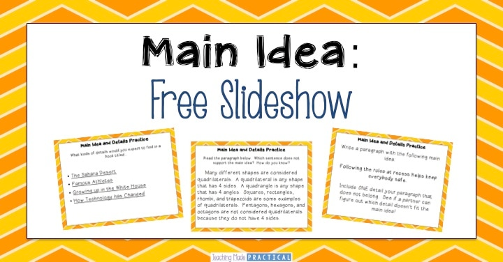 Free Main Idea And Details Slideshow In
