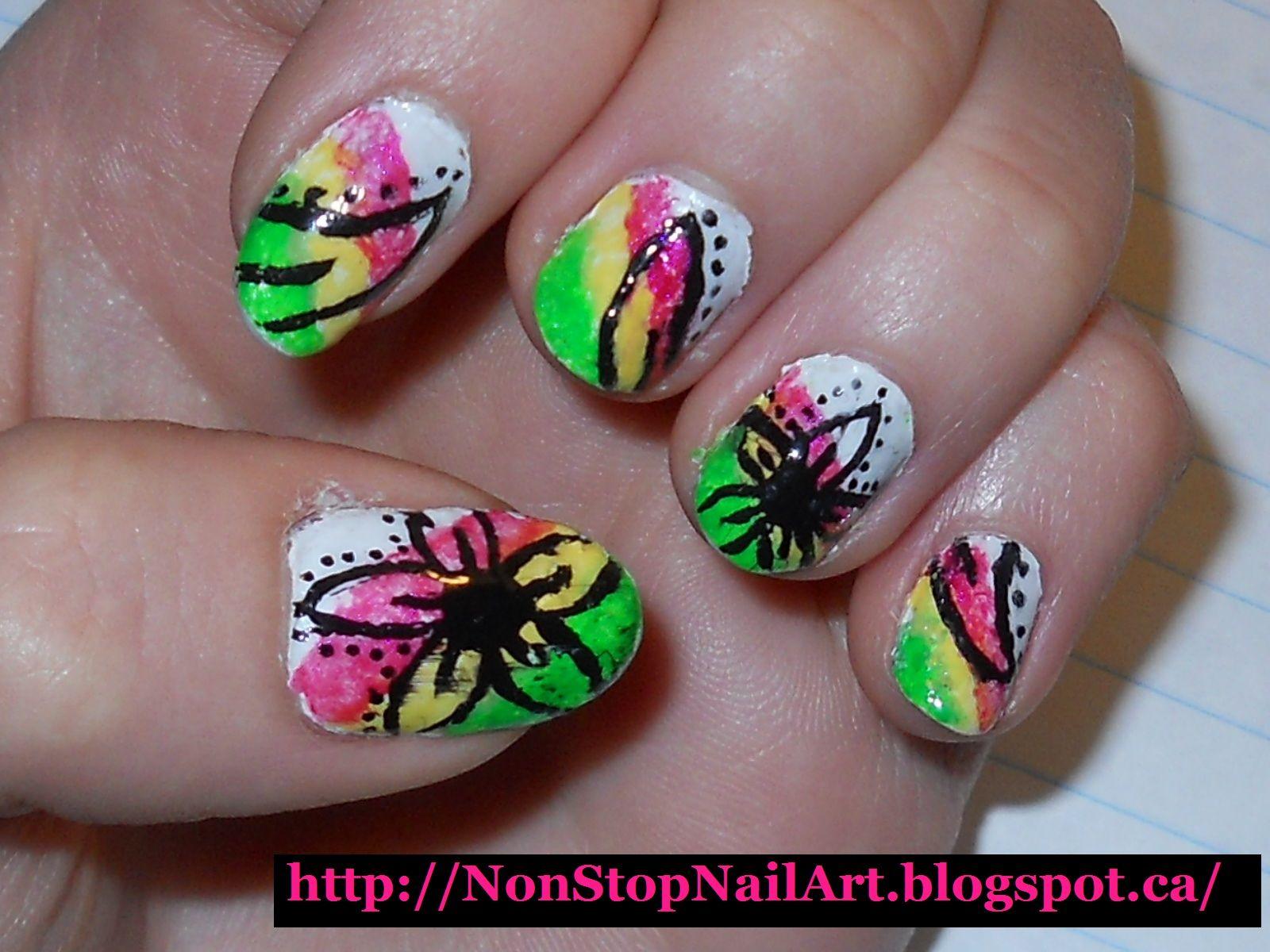 Non-Stop Nail Art: Tropical Flower Nails | Nails, hair, make up ...
