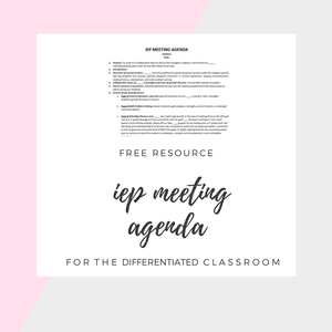 Free Iep Meeting Agenda Template   I Teach Sped