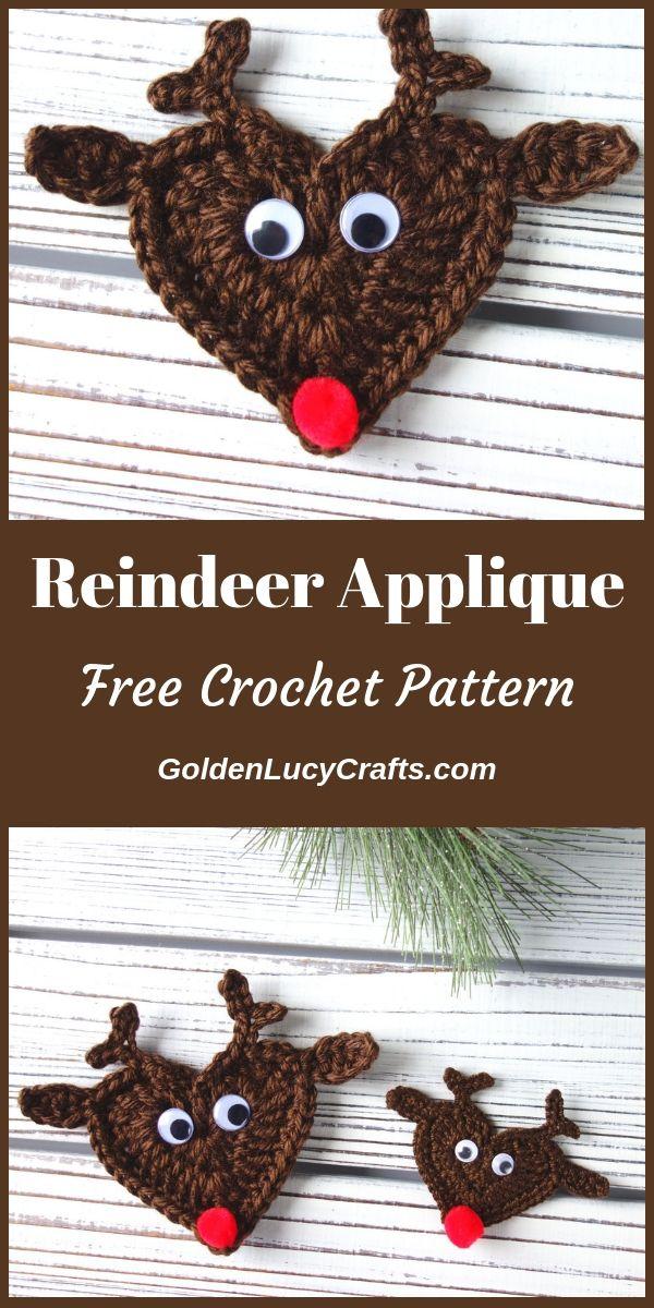 Crochet Reindeer Applique #crochetapplicates