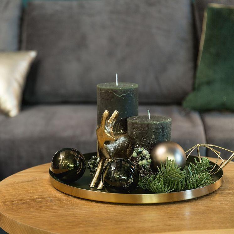 Weihnachtskugeln Set, Glas, 6 Stück, D:8cm, tannengrün