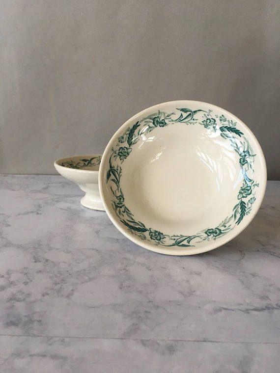 Vintage Mayer China Footed Bowls Mayer Marilyn Green Floral Bowls Serving Piece Bowl