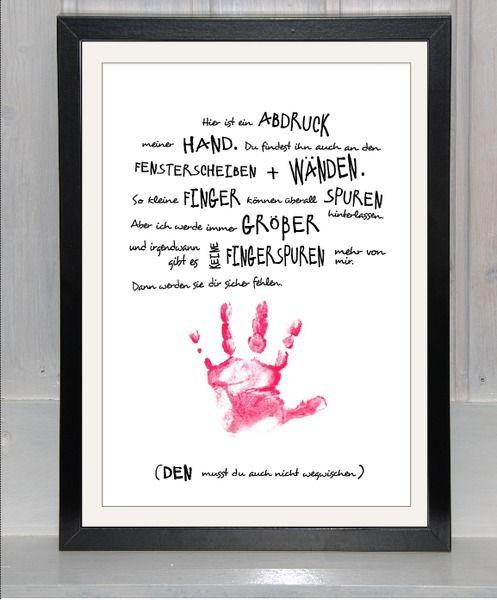 Handabdruck Babykindmeinehandfürdichvonbei