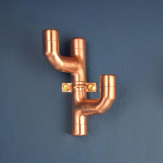 Copper Coat Hook Cactus Style 2 Tuyau Cuivre Idees Pour La Maison Cuivre