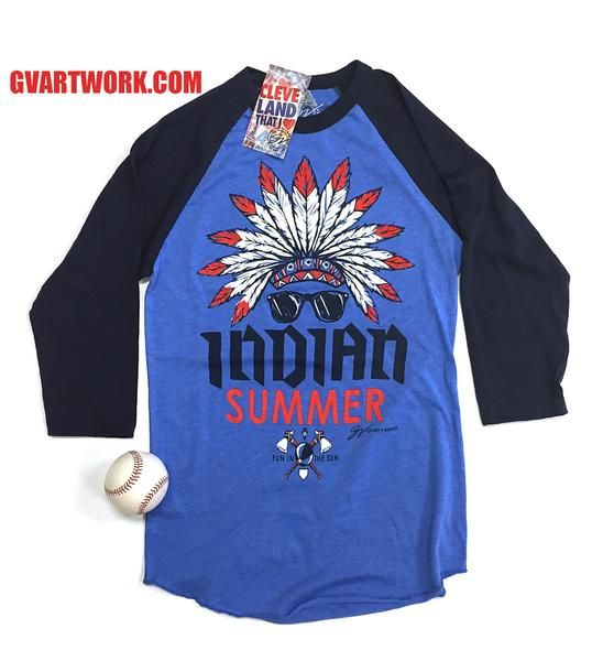 879f5026 Cleveland Baseball, 3 4 Sleeve Shirt, Summer Tshirts, Indian Summer