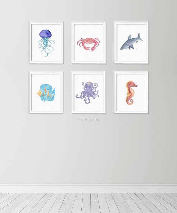 Set Of 6 Sea Watercolor Collection Themed Nursery Ocean Prints Creatures Decor Kids Room