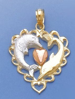 Amazoncom 14k Gold Nautical Necklace Charm Pendant Dolphins In