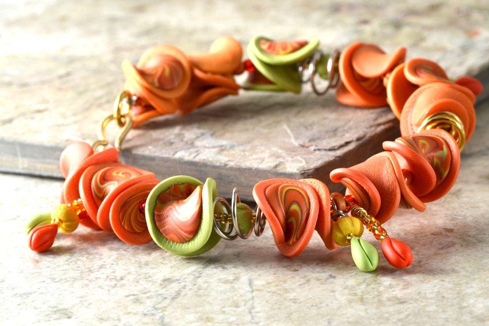 Truffled Salsa - Ruffled Bead Bracelet - Handmade One of a Kind. $51.00, via Etsy.