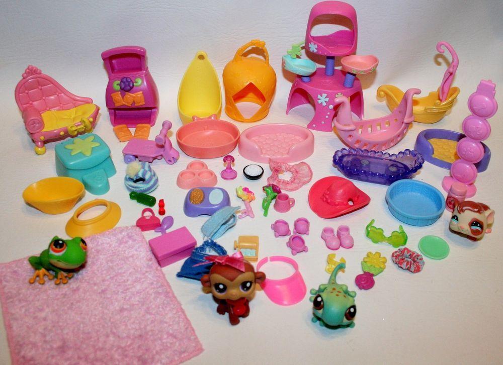 57 Piece Lot Hasbro LPS Littlest Pet Shop Pets