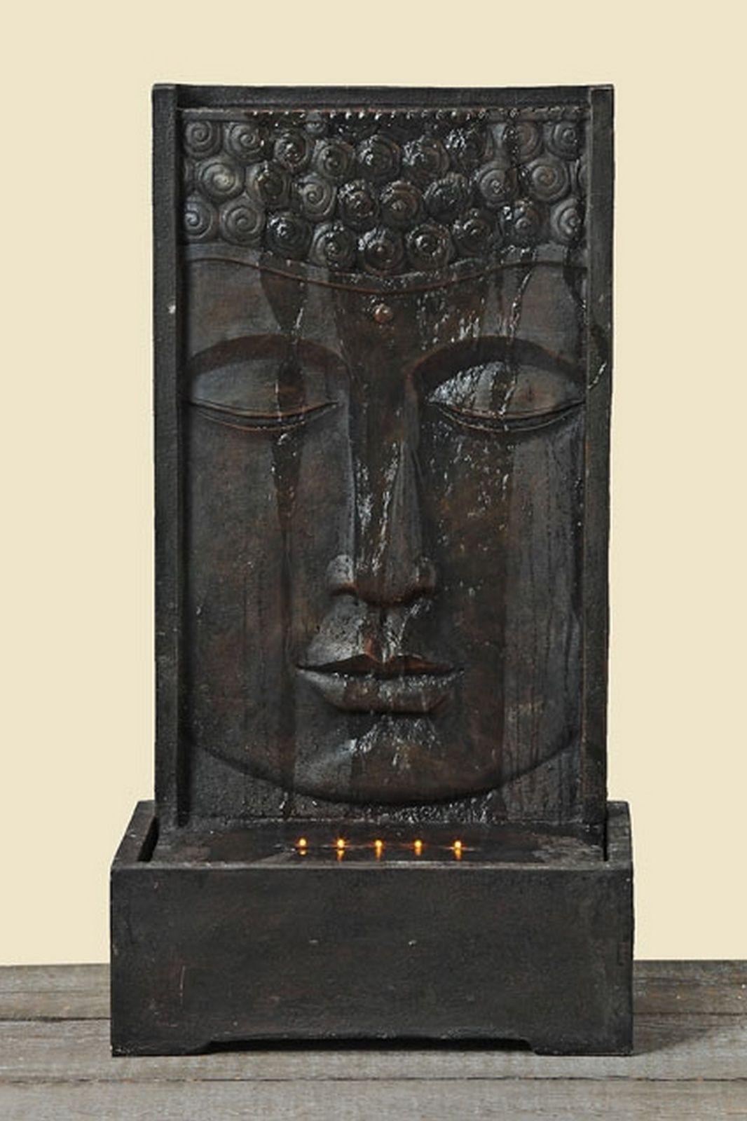 Brunnen Wasserfall Buddha Kopf Mit LED Beleuchtung