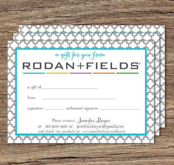Rodan and Fields GIFT CERTIFICATE Printable by TanyasPrints ...