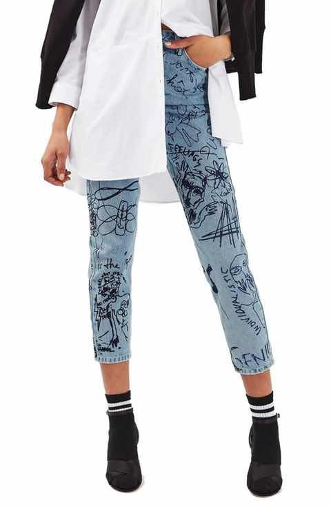 83dc54ccacebd9 Topshop Scribble Crop Mom Jeans | Pretty Pants (Trousers & Jeans) in ...