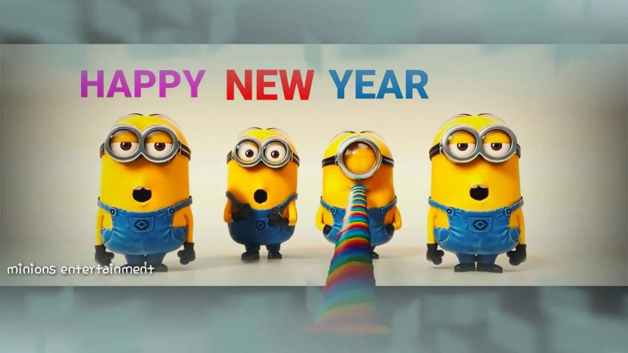 Happy New Year Whatsapp Status Video 2018 By Minions Animated Happy New Year Animation Really Funny Pictures Minions Animation