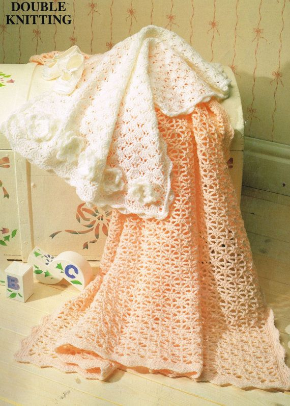 baby pram blanket shawl vintage crochet pattern PDF instant download ...