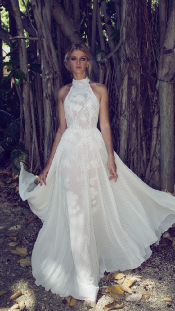 High Neck White Chiffon Skirt Wedding Dress | Pinterest | Wedding ...
