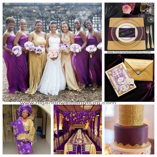 Nigerian Wedding Add Glamour To Your Wedding With Gold Check Out These 9 Dazzling Gold Color Combination Ideas Purple And Gold Wedding Wedding Purple Wedding