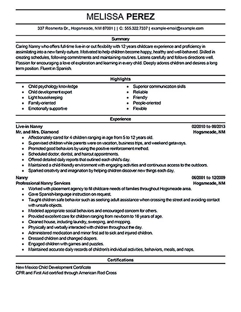 resume samples for nanny jobs