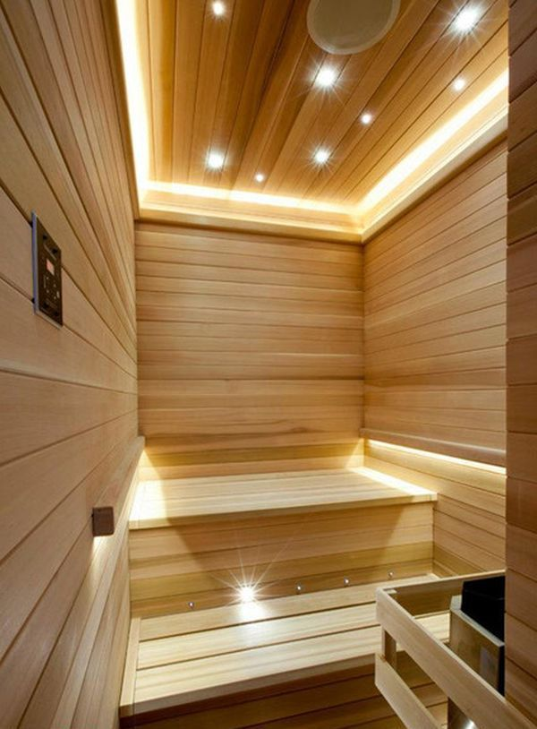 Elegant Sauna Decorating Ideas With Maple Wooden Interior Design And Starry Sauna Design Home Sauna Room