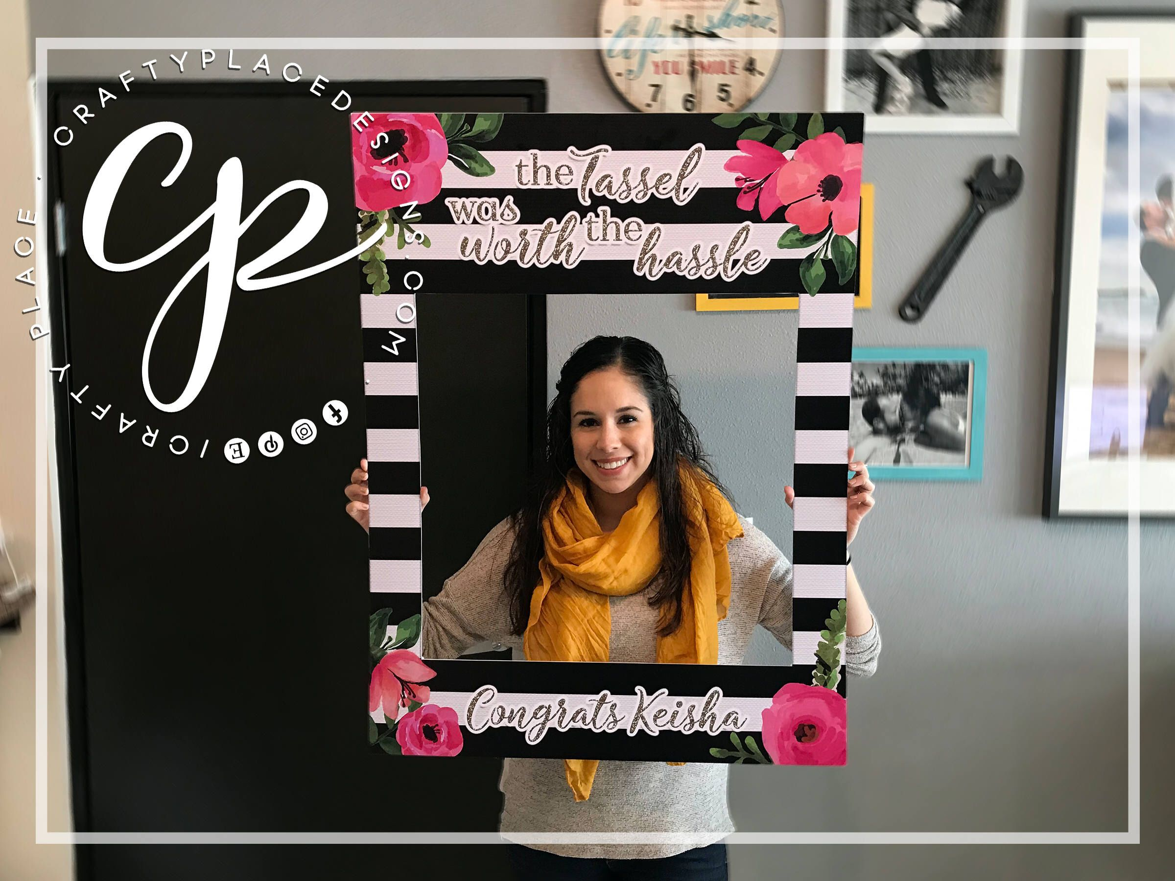 Graduation photo booth frame | Floral photo booth prop | Bridal ...