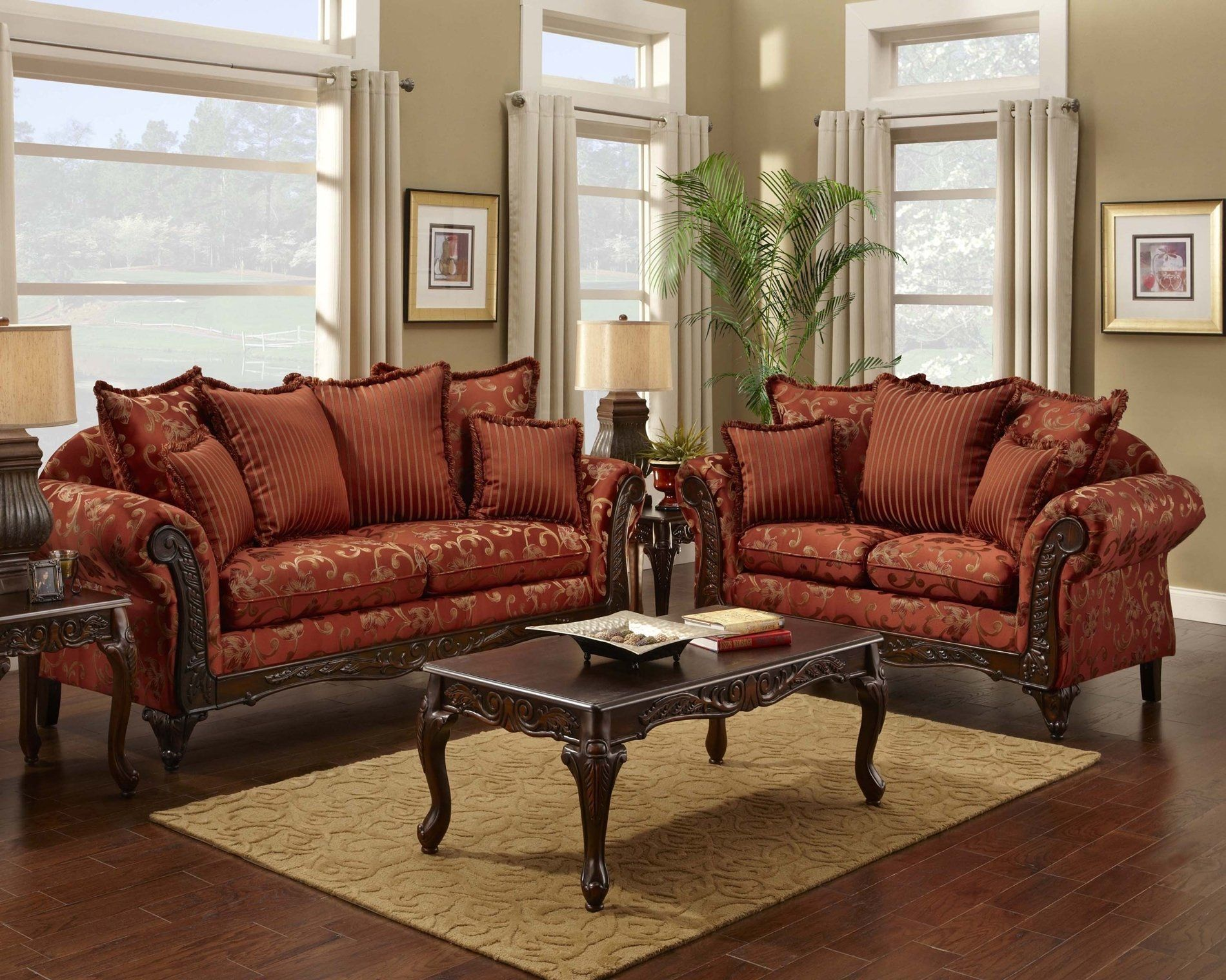 Living Room Victorian red floral print sofa and loveseat - traditional sofa set for the