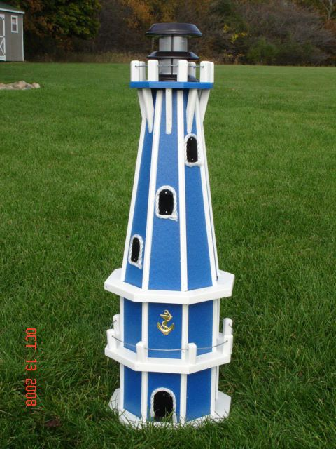 """32/"""" Octagon Solar Powered Poly Lighthouse,Green//White Decorative Lighthouses"""