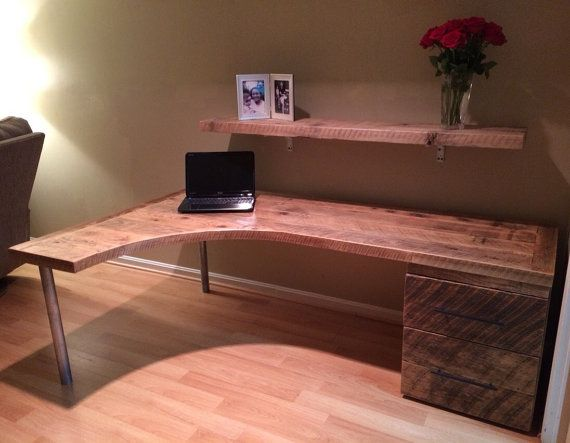 L Shaped Curved Desk with drawers by Reclaimtofame1 on Etsy For my
