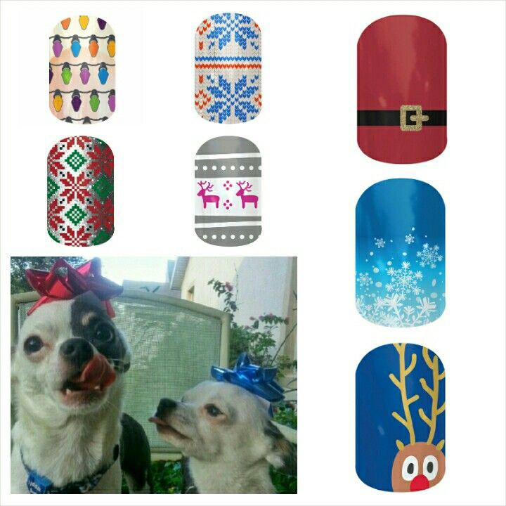 My #chihuahuas paired with matching #jamberry #nail #wrap #design for #christmas. #Holiday #season . www.jaszumie.jamberrynails.net
