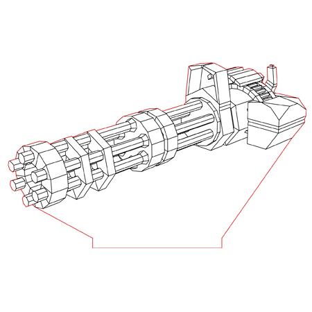 Gatling Machine Gun 3d Illusion Lamp Plan Vector File