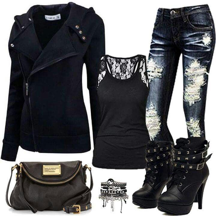 Rocker chick outfit. Id SO wear this.