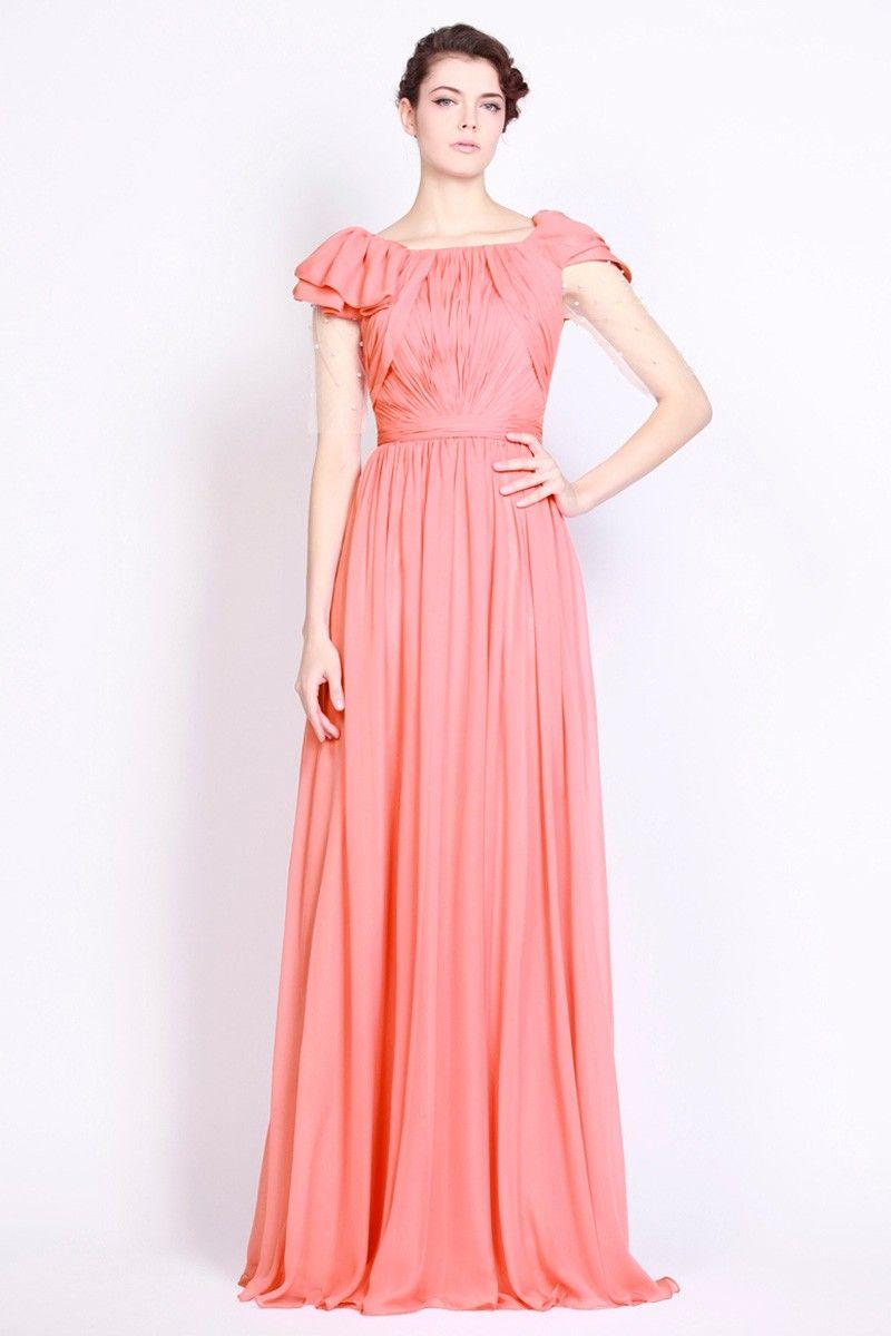 Best Watermelon Chiffon Floor-Length A-Line Dress DWD1000 ...