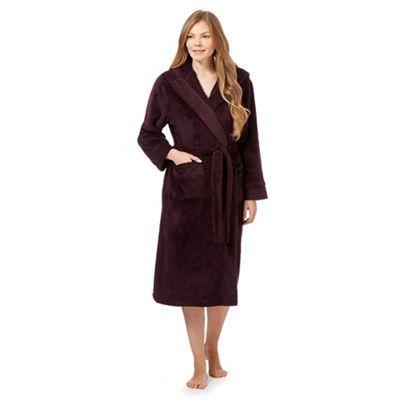 J by Jasper Conran Dark purple fleece dressing gown- | Debenhams ...