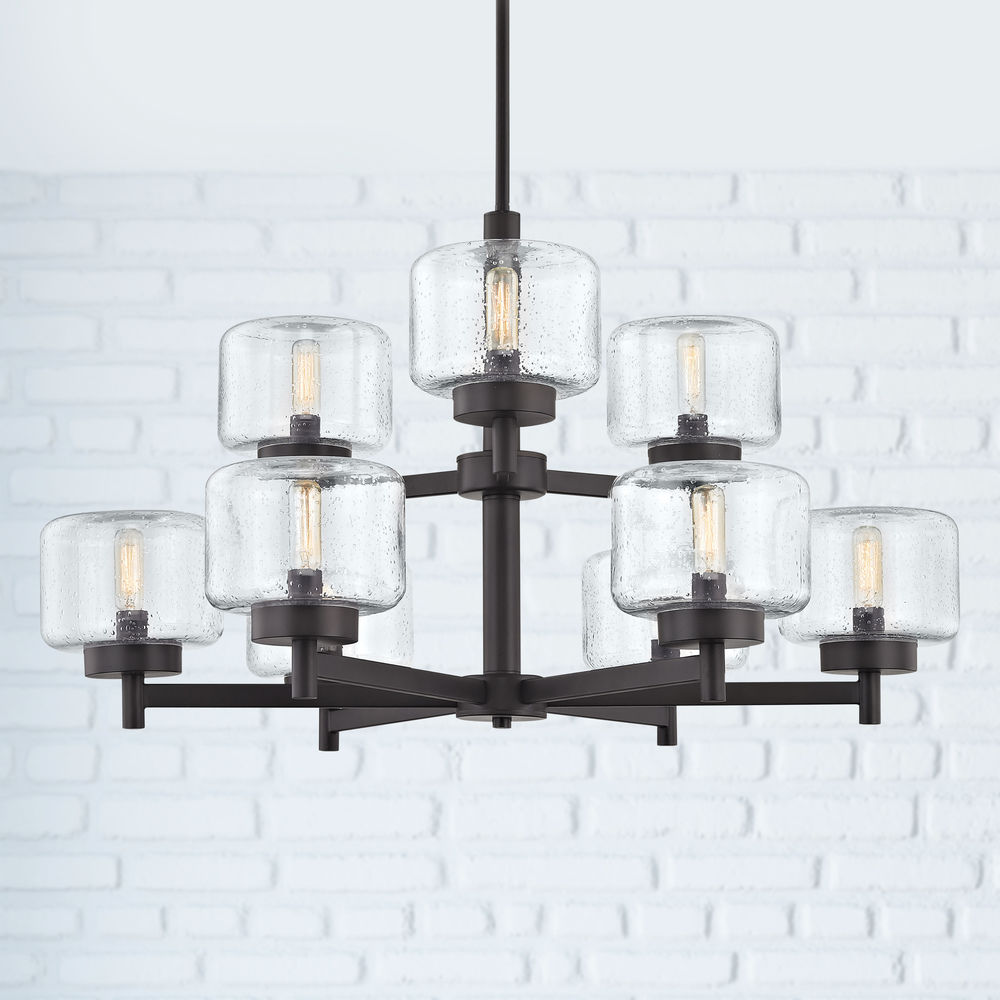 Industrial Seeded Glass Chandelier Bronze 9 Lt Two Tier At Destination Lighting In 2020 Glass Chandelier Chandelier Seeded Glass