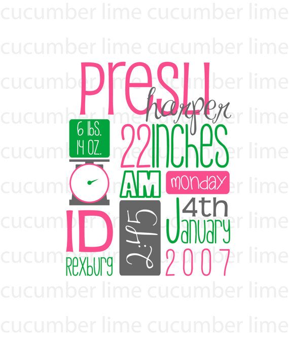 Personalized Birth Stats by cucumberlime on Etsy