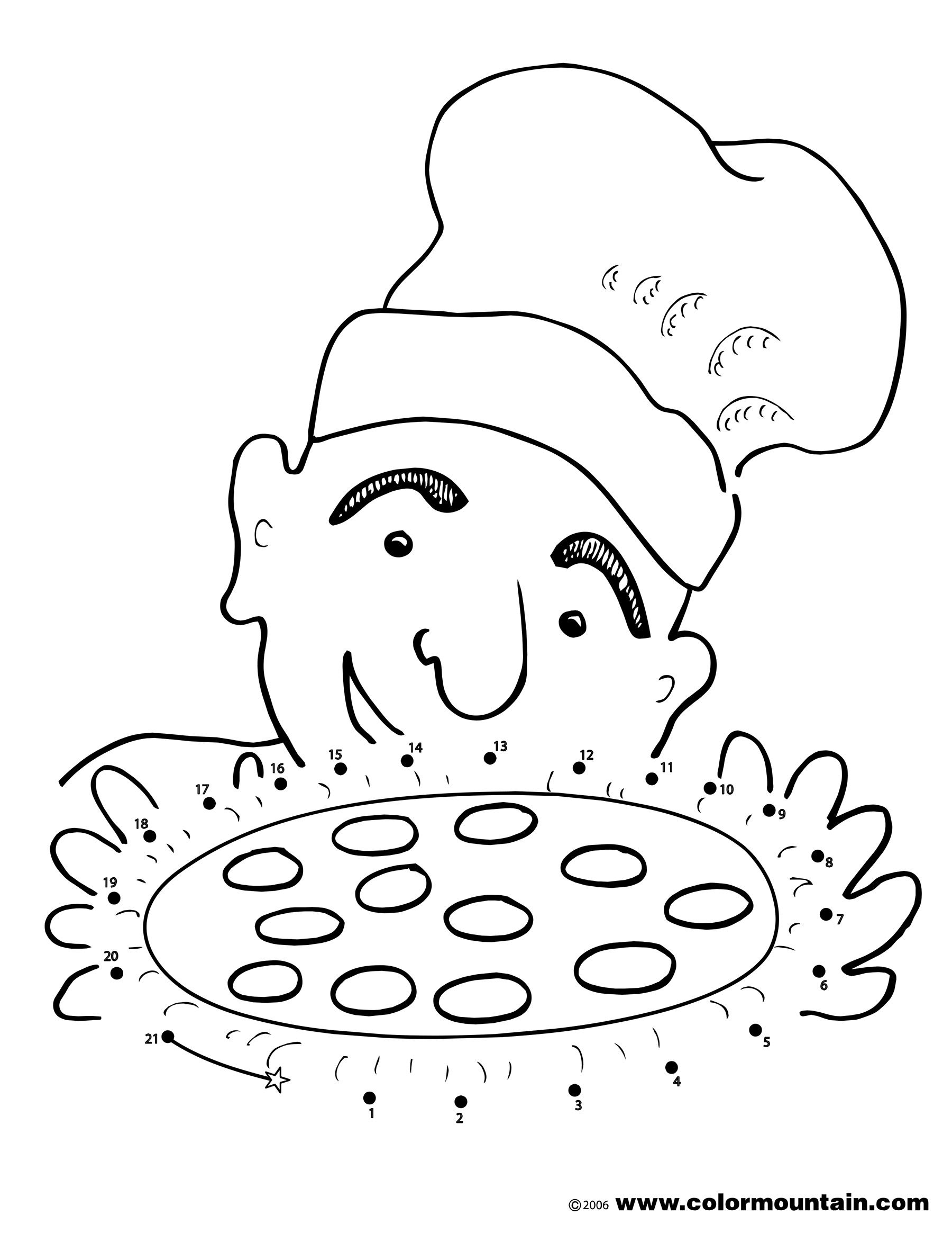 pizza dot to dot activity coloring page