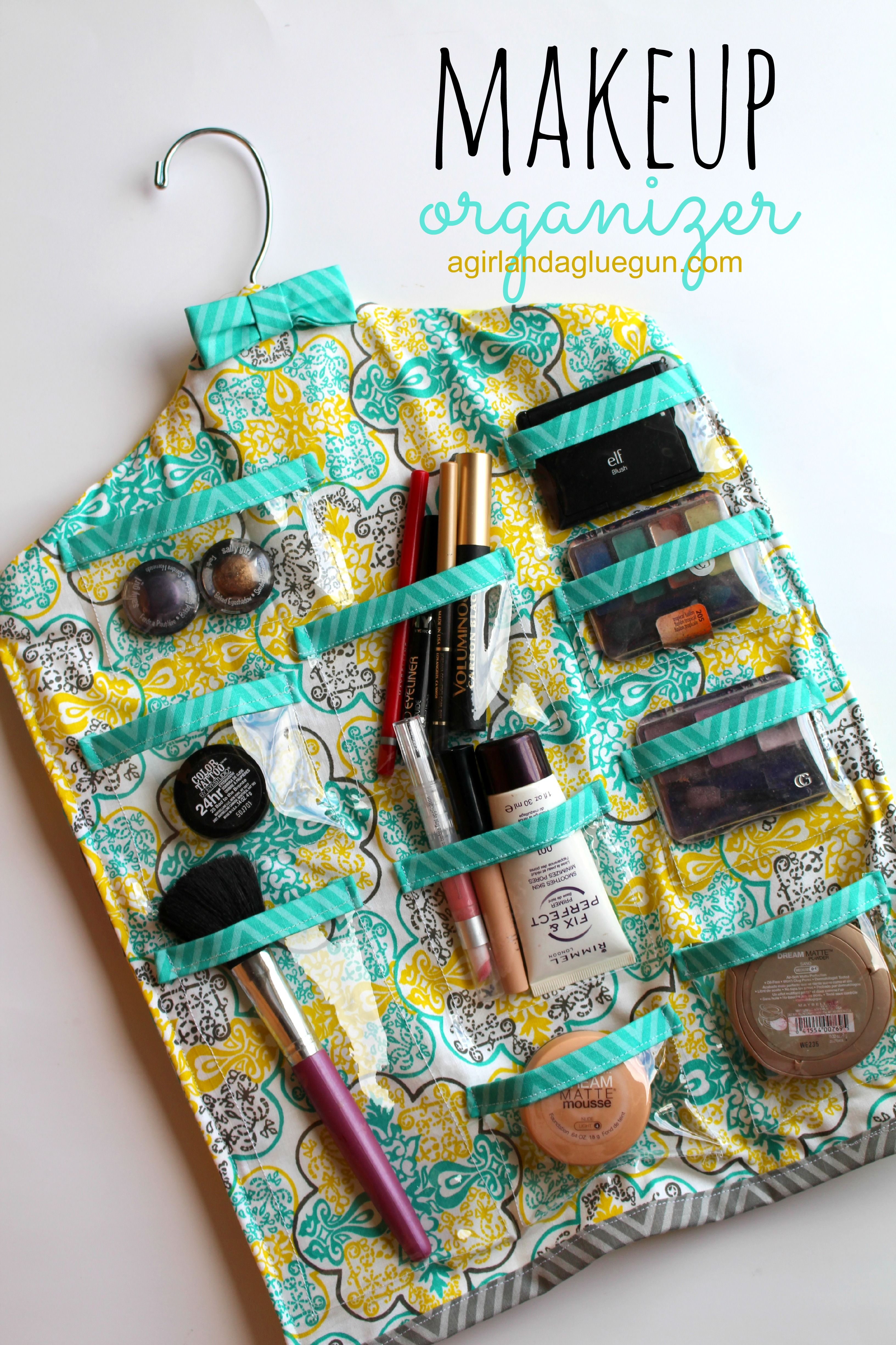 hanging makeup organzier crafts Diy makeup storage