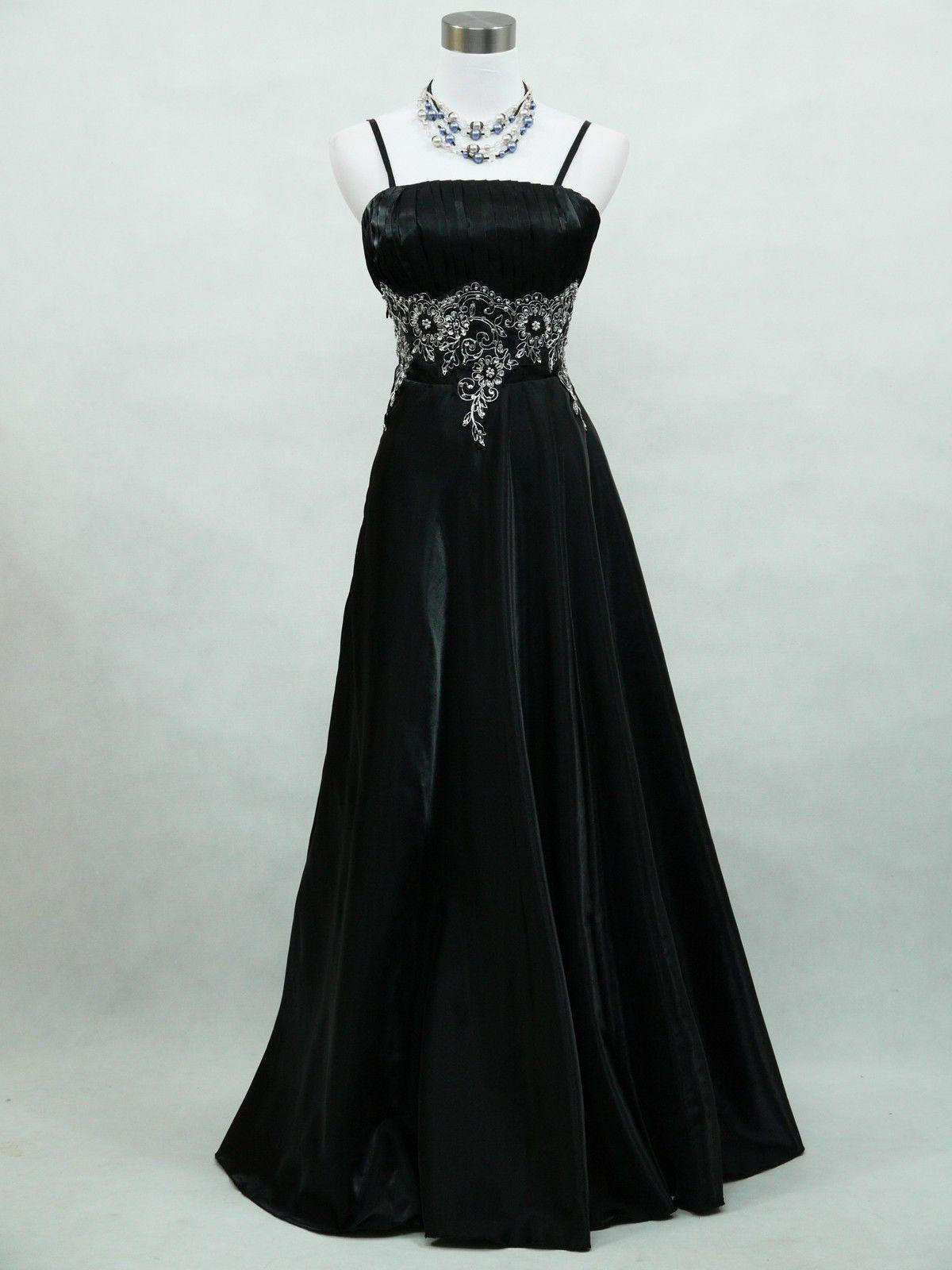 Cherlone Satin Black Long Ball Sparkle Wedding/Evening Gown ...