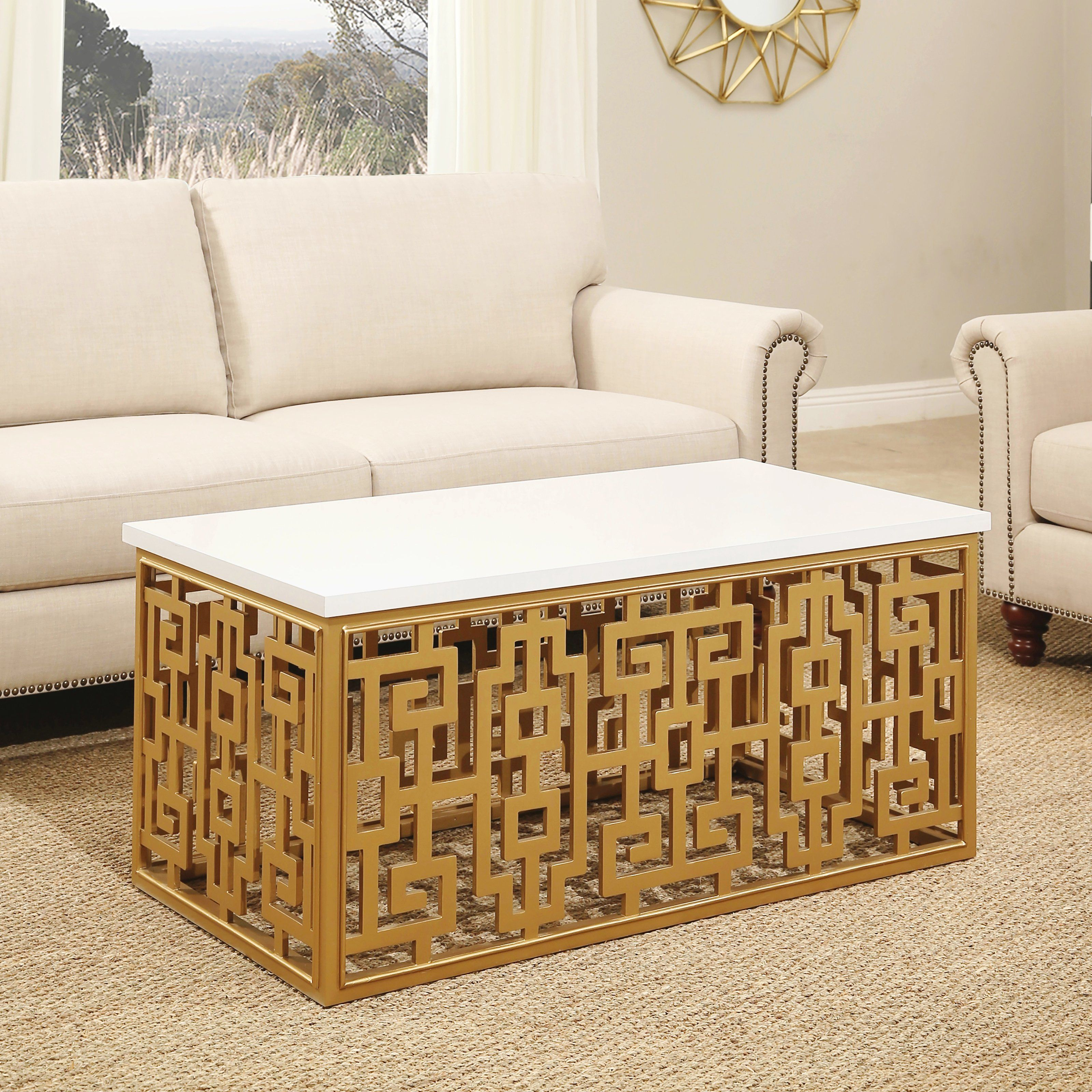 Abbyson Brent Coffee Table Coffee Table Rectangle Rectangle