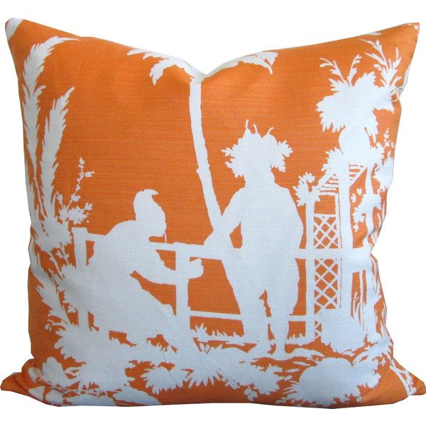 High End Designer Throw Pillows Part - 26: South Sea In Tangerine-High End Designer Decorative Pillow... ($50)