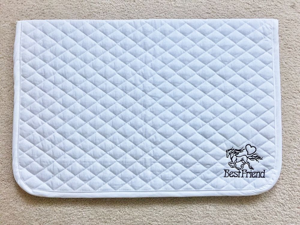 English Standard Size Horse Baby Saddle Pad White Embroidered Horse Best Friend Saddle Pads Embroidered Horse Horse Saddle Pads
