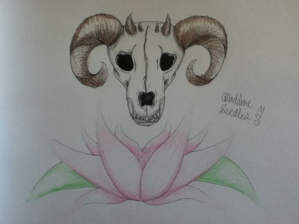 Georgia O'keeffe style: Dragon skull and lotus flower. ©Madeline Secules#TDQ